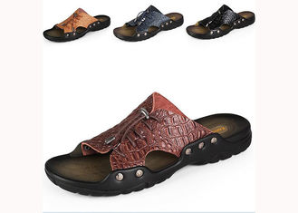 Comfortable Summer Mens Beach Slippers , Brown / Yellow Mens Slip On Slippers