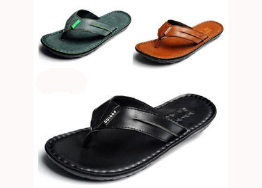 Genuine Leather Mens Flip Flop Slippers Summer Slip On Sandals For Outdoor